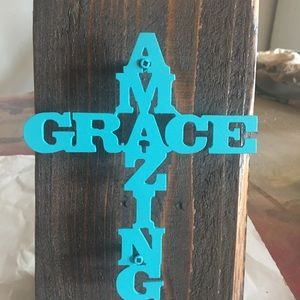 Amazing Grace Metal Sign on Wood Back